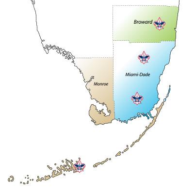 Southern Florida Map.South Florida Map Boy Scouts Of America South Florida Council