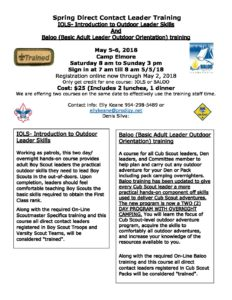 traininf flyer Spring dirrects leadership training - Boy Scouts of